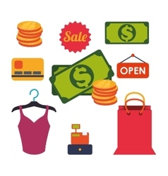 Shopping market shop store icon set vector