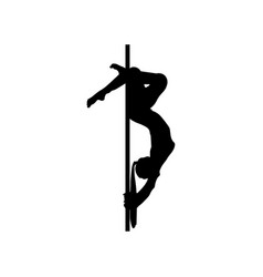 Silhouette girl and pole on a white background vector