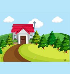 simple house in rural scene vector image