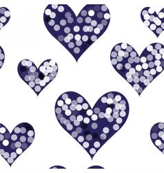 snowflakes on dark hearts vector image