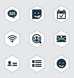 social icons set with wi-fi people advert and vector image
