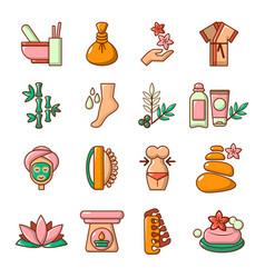 Spa salon icons set cartoon style vector