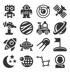 space icons set on white background vector image