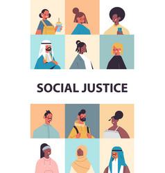 srt mix race people avatars racial equality social vector image