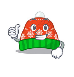 Thumbs up winter hat in mascot shape vector