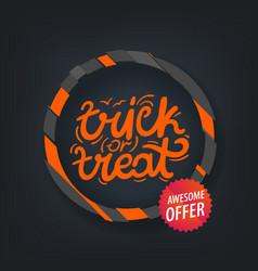 Trick or treat banner color frame vector