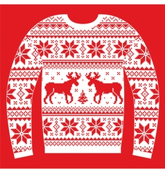 Ugly Christmas jumper or sweater with reindeer and vector image
