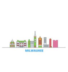 United states milwaukee city line cityscape flat vector