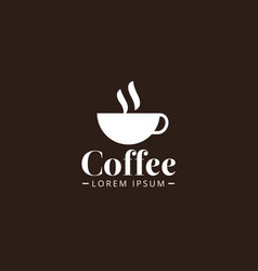 white color coffee cup logo design template vector image