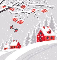 winter snowy village landscape in cartoon style vector image