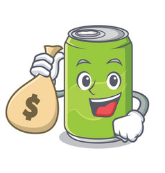 With money bag soft drink character cartoon vector