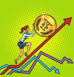 woman businesswoman roll a yen coin up vector image