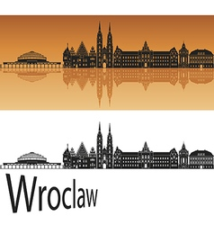 Wroclaw skyline in orange vector image