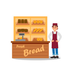 young smiling man selling bread fresh products on vector image