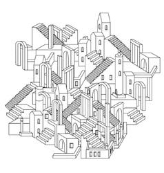 Zen art outline city vector