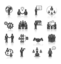 Business people meeting icons set vector image vector image