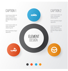 car icons set collection of van carriage drive vector image vector image