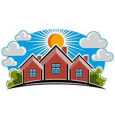 Colorful of country houses on sunny background vector