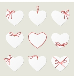 Hearts with ribbons ahd bows in twine style vector image