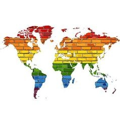 Map of world in colors of pride flag vector