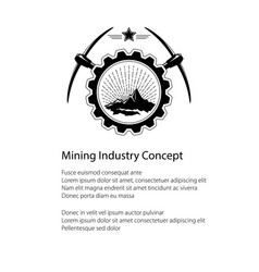 mining industry emblem and text vector image vector image
