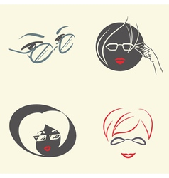 Set of emblems with glasses vector image