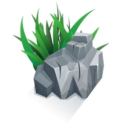 Single stone with grass vector image