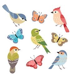 Birds and butterflies vector