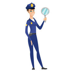 caucasian police woman holding hand mirror vector image vector image