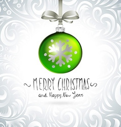 Christmas tree branch with green ball isolated vector image