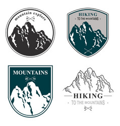mountains icon set hand drawn vector image