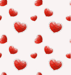 seamless pattern with red polygonal heart vector image vector image