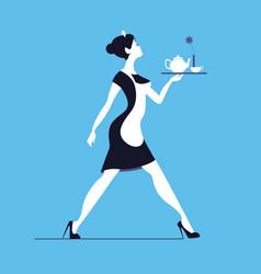 waitress on blue background slender woman vector image vector image