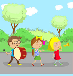 children go on the road and play instruments vector image
