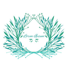 frame leaves plants and herbs with space for text vector image