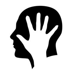 Head with hand vector image vector image