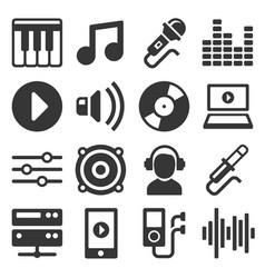 music icons set on white background vector image