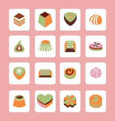 Set icons of Delicious Chocolate Candy sweet food vector image vector image