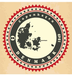 Vintage label-sticker cards of Denmark vector image vector image