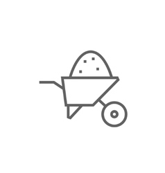 Wheelbarrow full of sand line icon vector image vector image