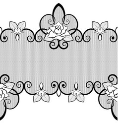black lace seamless pattern with roses on white vector image