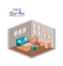 isometric floor plan of living room with couch and vector image