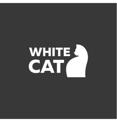 Kitten logo in a minimal modern design style of vector image