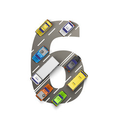 road with cars in the form of number six vector image