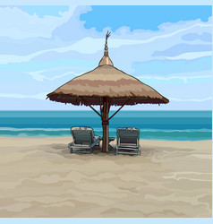 seaside with beach umbrella and sun loungers vector image