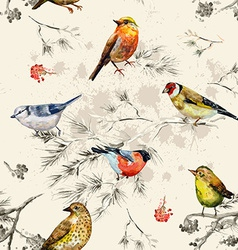 vintage seamless texture of little birds vector image vector image