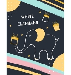 White elephant gift exchange vector