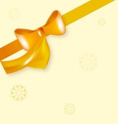yellow bow ribbon with snowflake vector image