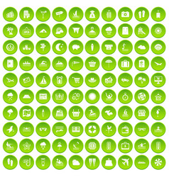 100 seaside resort icons set green circle vector