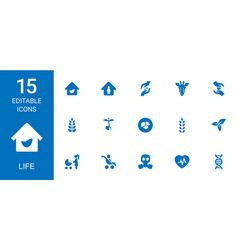 15 life icons vector
